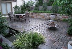 A modern interpretation of a classical Persian garden utilizing reclaimed materials from a local street. Features a Koi pond and a wood-fired oven. Small Water Features, Building A Pond, Persian Garden, Modern Garden Design, Pool Landscaping, Garden Styles, Outdoor Gardens, Outdoor Pool, Koi