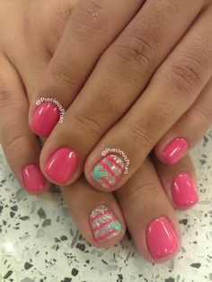 awesome Pink, stripes, heart nails... by http://www.nail-artdesign-expert.xyz/nail-art-for-kids/pink-stripes-heart-nails/
