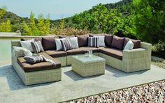e57352d9fb1628 Salon de jardin résine Medula Atlanta 6 places coussins marron - Meubles de  jardin