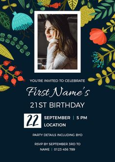 Birthday Invitation customised to suit any milestone. 21st Birthday Invitations, Flower Invitation, Youre Invited, First Names, Rsvp, Suit, Party, Flowers, Floral Invitation