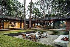Instead of a sunken living room, a sunken deck. Note: Hot rolled steel for retai… Instead of a sunken living room, a sunken deck. Note: Hot rolled steel for retaining wall and house trim. Architectural Digest, Architectural Features, Residential Architecture, Landscape Architecture, Landscape Elements, Architecture Awards, Architecture Courtyard, Modern Courtyard, Courtyard House Plans