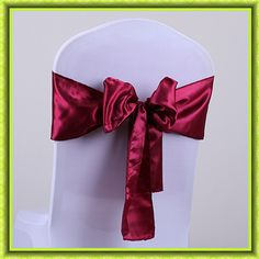 Wine red  18*275cm 100pcs  Satin  Chair Sash Bow  For Wedding Party