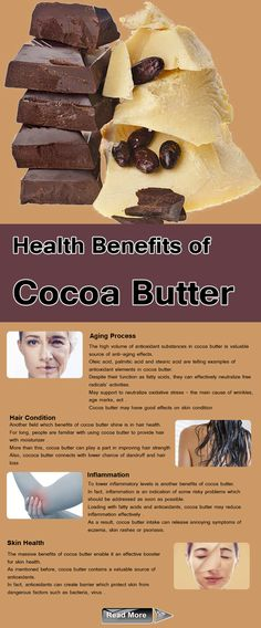 Cocoa butter: Some of the most important health benefits of cocoa butter include its ability to improve skin health, boost the immune system, improve hair quality, prevent signs of aging, and reduce inflammation. ...