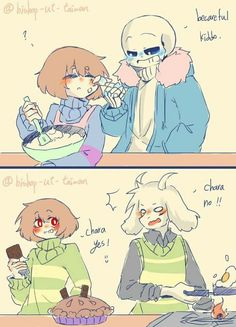 There are two knives in the pie and Chara is holding a chocolate bar... It's obviously morning, cuz Asriel is flipping eggs... So is he saying no to the fact that she stabbed the pie twice or her choice of breakfast?