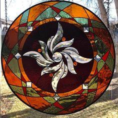 handmade stained glass mandala spiral original design