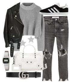 """""""Untitled #22072"""" by florencia95 ❤ liked on Polyvore featuring Acne Studios, Balenciaga, Gucci, adidas, Casio and Diamond Star"""