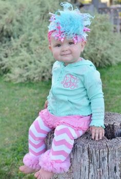 Look at that bow!  Baby Girl's Ice Green & Hot Pink Monogrammed Initial Ruffle Hoodie Jacket