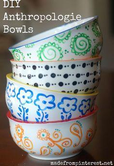 diy anthropologie bowls, crafts, painting
