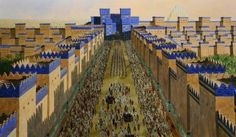 Babylon, Ishtar Gate and Processional Avenue, Aerial, century BC – Archaeology Illustrated Historical Architecture, Ancient Architecture, Art And Architecture, Ancient Mesopotamia, Ancient Civilizations, Ancient History, Art History, Babylon City, Babylon Iraq