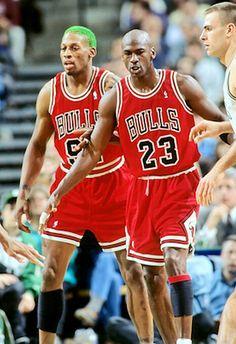 Dennis Rodman and Michael Jordan