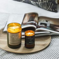 """Got a burning desire to infuse your homne with a sweet scent? Come in store to test drive our favourite candle brand right now! Our current obsession is the """"Violet and Frosted Berries ' Scent. Recycled Timber Furniture, Candle Jars, Candles, Candle Branding, The Violet, General Store, Perth, Berries, Recycling"""