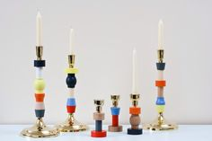 CandleStack & miniStack designed by Victoria Delany. Now available in a new version from Heals http://www.heals.co.uk/candles+holders/seletti-candlestack-wood/invt/248759.     #candlesticks #Heals #designer