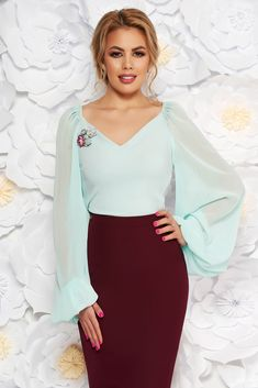 "StarShinerS mint elegant women`s blouse with a cleavage transparent sleeves with v-neckline with floral details, floral details, tented cut, ""V"" cleavage, long sleeves, transparent sleeves, nonelastic fabric"