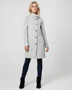 Clothing, Shoes & Accessories Well-Educated Loft Red Wool Peacoat Double Breasted With Funnel Neck Collar-size 0 Women's Clothing