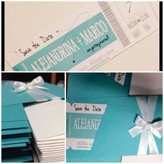 Tiffany blue boarding pass magnet save the dates! #SeptemberBlooms
