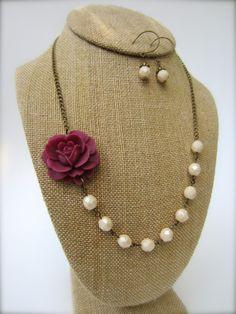 Bridesmaid Jewelry Set of 5 Flower Statement Necklace Burgundy Wedding Maroon Rose Necklace Rustic Wedding Jewelry