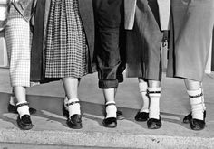 a trend of the time, five teenage girls wear dog collars around their ankles | 1953 | #vintage #1950s #fashion