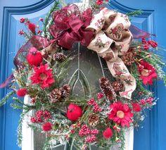 Winter Wreath, Fall Wreath, Cardinal Wreath, Woodland Wreath, Door Wreath, Entry Way Wreath, Holiday Wreath, Winter Decor, Fall Decor by MnMadeWreathsNThings on Etsy