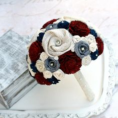 Keepsake Wedding Bouquet Maroon, Charcoal, Navy, Ivory Cream by TheSunnyBee, Etsy #wedding #bouquets