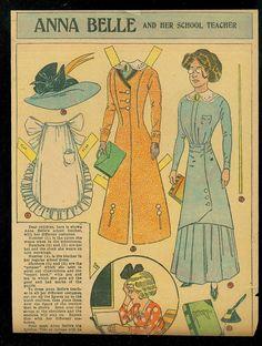 1908 Anna Belle and Her Her School Teacher Newspaper Paper Doll | eBay