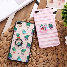 New Cute Cactus Potted Plant Stripes Phone Cases for iPhone 7 7Plus 6 6s 6Plus 6sPlus Finger Ring Holder Stand Back Case Cover