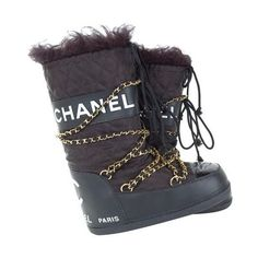 CHANEL APRES SKI MOON BOOTS ❤ liked on Polyvore featuring shoes, chanel, boots and snow boots