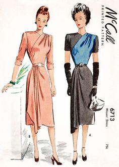 1940s dress vintage women's sewing pattern reproduction // faux wrap dress // draped skirt // bust 32 34 36 38 40 by LadyMarlowePatterns on Etsy https://www.etsy.com/listing/556505315/1940s-dress-vintage-womens-sewing