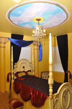 Beauty and the beast room reminds me when I was little and my room was beauty and the beast. Wonder if Dessie would want her room like this