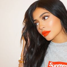 """Kylie Jenner Updates @kyliejkeek May 26 More kyliejenner: """"wearing DOLL matte lip today from the new koko 4 piece launching 5/31 3pm @kyliecosmetics I LOVE this fire orange """""""