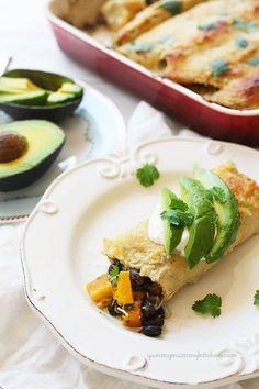 Healthy roasted butternut squash and black bean enchiladas from YummyMummyKitchen.com YUM!  #vegetarian