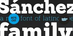 Sánchez is the Latinotype's first display type family. It is a serif typeface belonging to the classification slab serif, or Egyptian, that bears a strong resemblance to the iconic Rockwell, but with rounded edges— offering contrast and balance to the square structure. Sánchez comprises 12 variants, ranging from extra light to black, each of the same x-height. Regular and italic variants are available for free.
