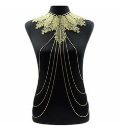 Body Jewellery Chain With Lace Choker Necklace