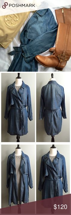 Cloth & Stone denim trench coat This trench is a super lightweight soft fabric that's perfect for fall! Has a removable sash belt and side pockets. Size is an XS but has plenty of room. New and never worn but without tags. Measurements: shoulder to bottom hem 36 inches; underarm to underarm 19 inches. Anthropologie Jackets & Coats Trench Coats