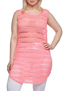 Plus Size Tunic Top with Shadow Stripes $13 (orange)