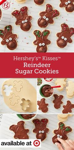 Let kiddos take the reins decorating these chocolaty sugar cookies. So cute and so easy! Cookie Desserts, Holiday Cookies, Holiday Baking, Christmas Desserts, Christmas Baking, Holiday Treats, Christmas Time, Reindeer Christmas, Christmas Ideas