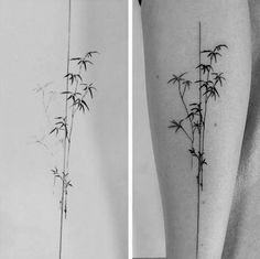 Small Simple Mens Bamboo Leg Tattoo With Black Lines