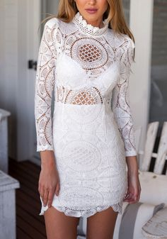 Feel fabulous at those dinner dates with your colleagues in this sheer lace long sleeve dress. Get yours here and enjoy free shipping. #lookbookstore #FashionClothing