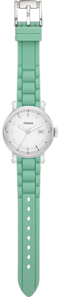 Fossil Watch ($100)  Stainless Steel Watch Face   Silicone Watch Strap in Green   fossil.com