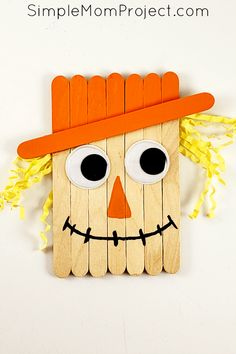 Easy DiY Fall Scarecrow Popsicle Stick Craft - Simple Mom Project - Halloween Crafts for Kids - Looking for a fun, DiY Fall or Halloween party decoration for kids to make? Click now for a cheap, - Autumn Crafts, Halloween Crafts For Kids, Halloween Party Decor, Thanksgiving Crafts, Easy Halloween, Thanksgiving Decorations, Halloween City, Halloween Recipe, Women Halloween