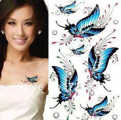 50PCS fashion waterproof men women temporary butterfly dragon body art Flowers lips glitter Tattoo stickers paper Free shipping #Affiliate