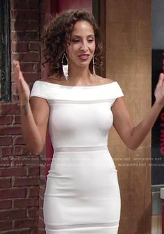 31ab27a7afec8 Lily s white off-shoulder dress on The Young and the Restless