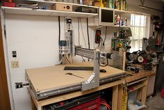 This a my homemade 3' x 4' 4 axis CNC Router. The 4th axis isnt in the picture, but it's for the rotary table.