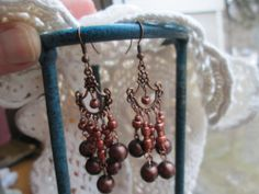 Vintage Chandelier Copper Colored Dangle French Wire Earrings, Weight 11.1 Grams