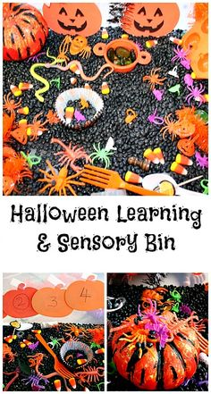 Halloween sensory and learning bin.#halloweenactivities