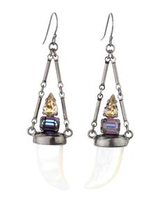 Michael Spirito Crystal and Mother-of-Pearl Tusk Earring