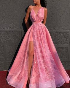 Sparkly A-line Spaghetti Straps Modest Long Prom Dresses Elegant Prom Dress Evening Gowns - Pink Dresses - Ideas of Pink Dresses Cute Prom Dresses, Prom Outfits, V Neck Prom Dresses, Elegant Prom Dresses, Ball Dresses, Pretty Dresses, Beautiful Dresses, Sexy Dresses, Summer Dresses