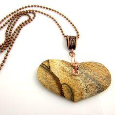 Jasper Heart Pendant Necklace Gemstone Pendant by ramonahall, $45.00