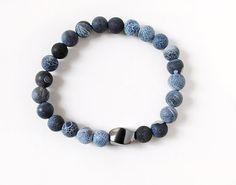 Mens Bracelet Blue Agate