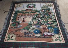 """Christmas Holiday Theme Tree Wreath Fireplace Afghan Tapestry Throw 54"""" x 60"""""""