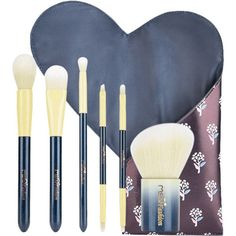 Blue 6Pcs Portable Beauty Tools Makeup Brushes Set With Bag (345 CZK) ❤ liked on Polyvore featuring beauty products, makeup, makeup tools and makeup brushes